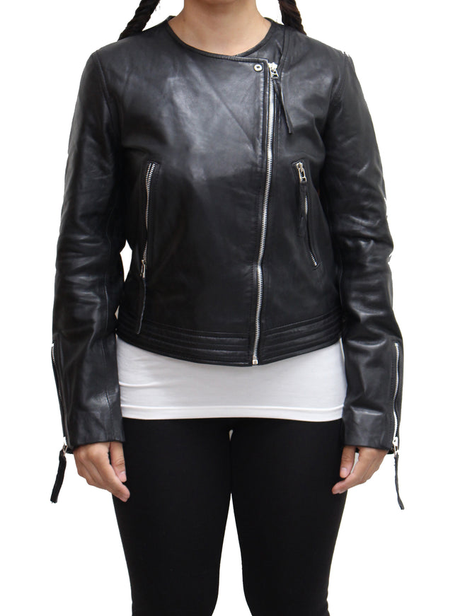 Womens Lightweight Summer Cross Zip Brando Style Biker Jacket with Classic Zipped Sleeves. Available in Black and Yellow