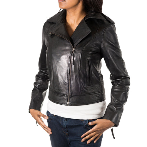 Womens Brando style short biker leather jacket with size zip fastening. Available in Black and Brown