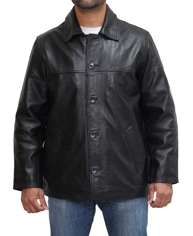 Mens real leather parka / harrington retro style leather coat. Available in Black and Brown