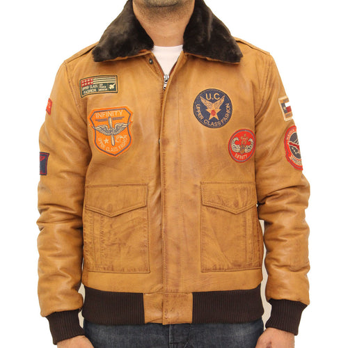 Mens classic A2 style bomber jacket with badges with detachable sheepskin collar.