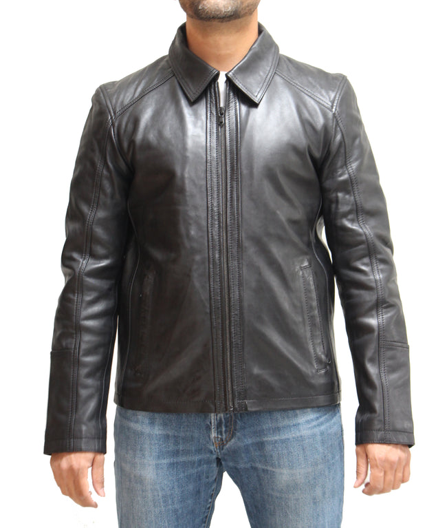 Mens Real Vintage Distressed Shirt Collar Formal Leather Jacket. Available in Black and Tan