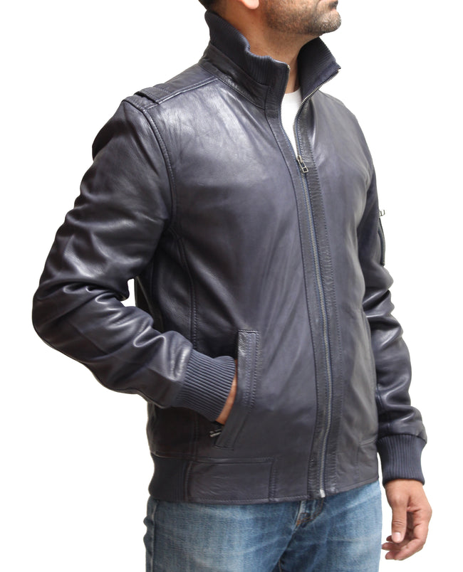 Mens Real Leather Bomber Sleeve Pocket Jacket. Available in Blue and Tan