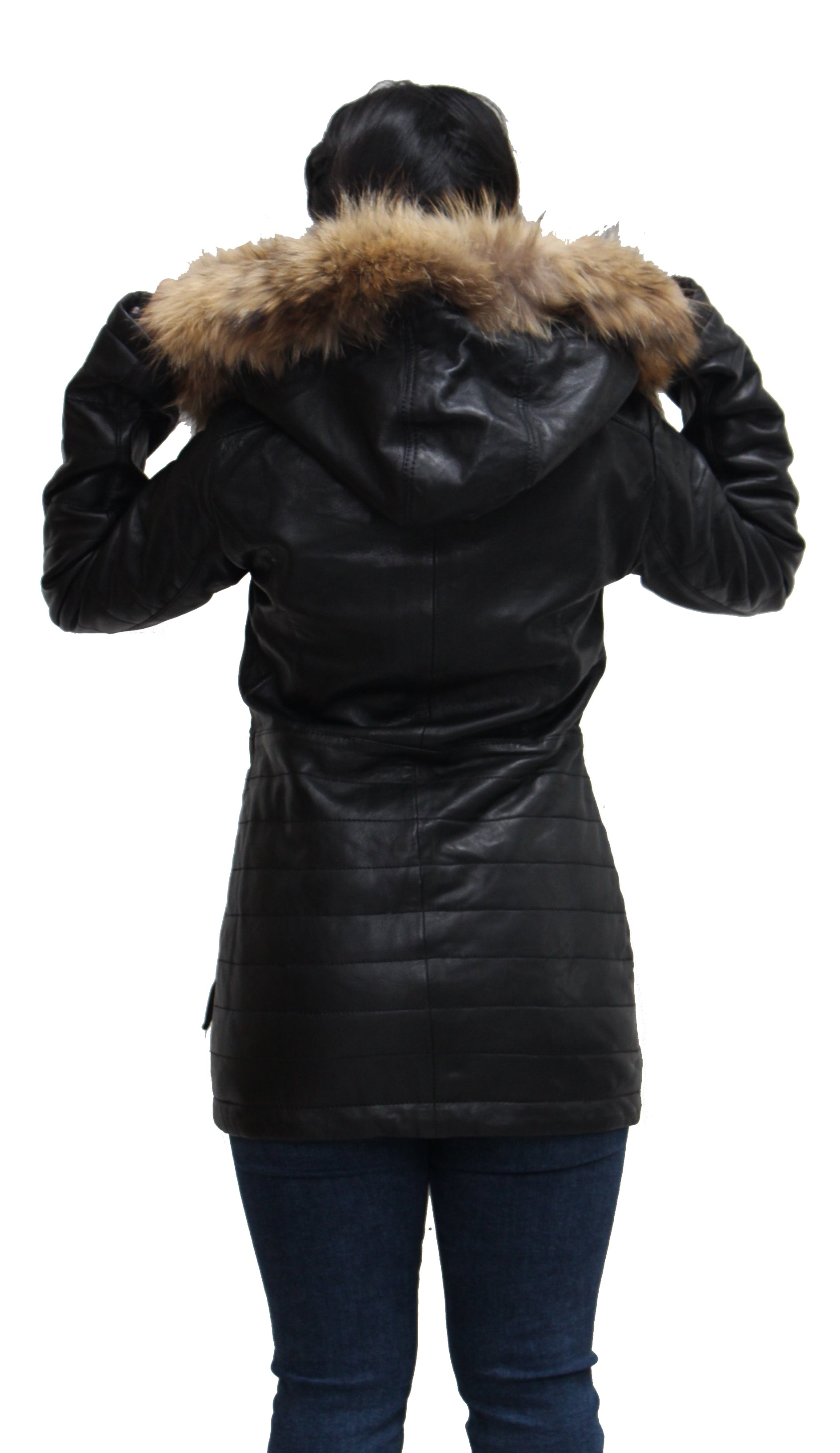 Womens Black Leather Quilted Trench Coat with Detachable Hood