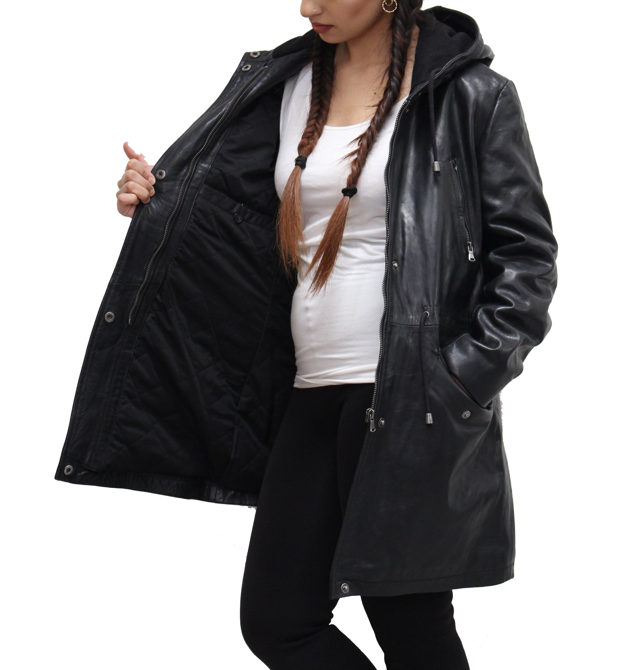 Womens Real Leather Stylish Black Hooded Parka Trench Coat