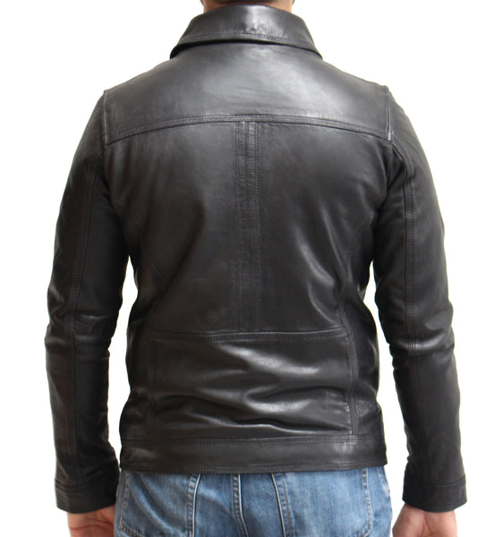 Mens Bomber Leather Jacket with Removable Sheepskin Collar. Available in Black and Tan