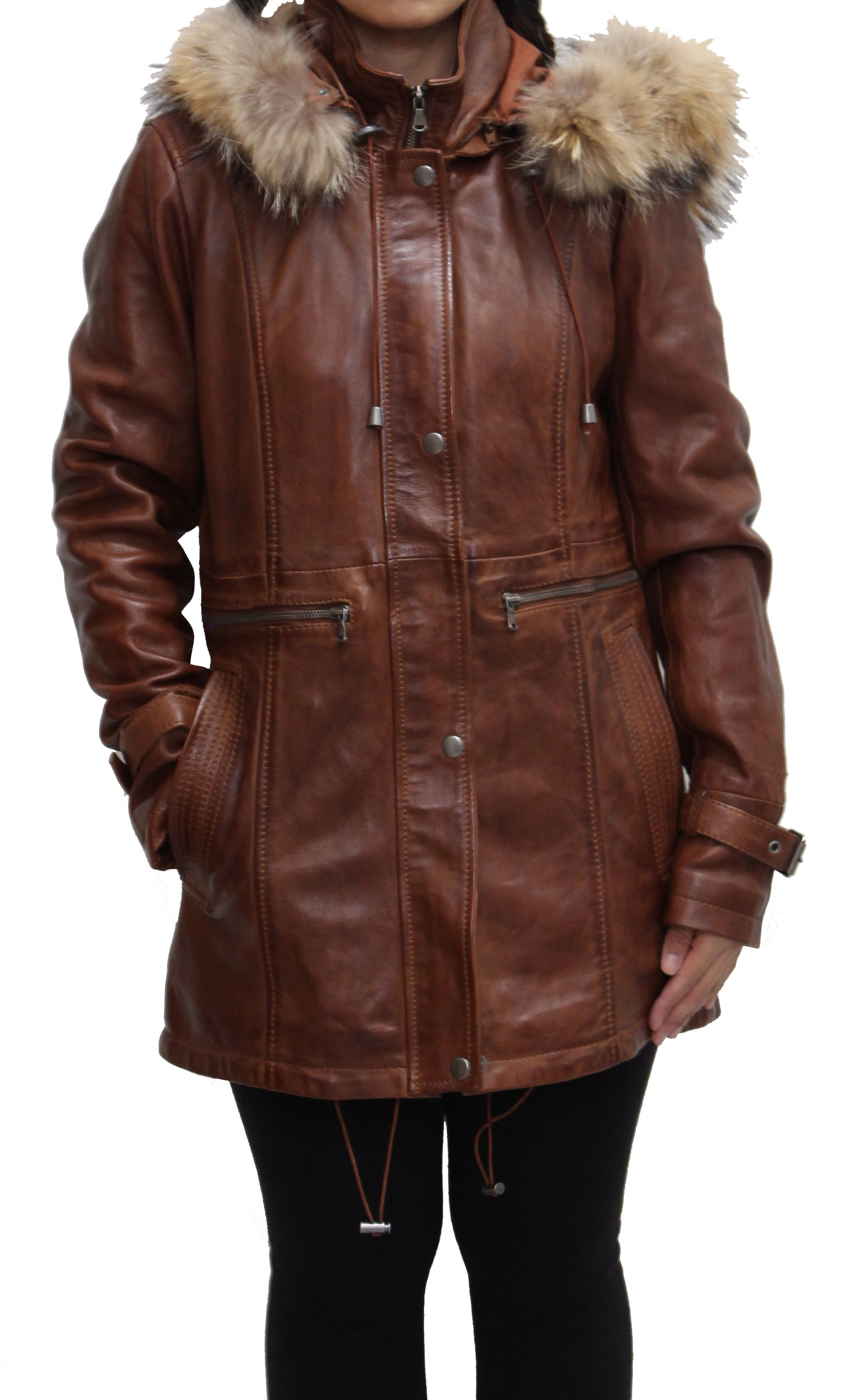 Womens Real Leather Three Quarter Hooded Coat. Available in Black and Cognac Brown