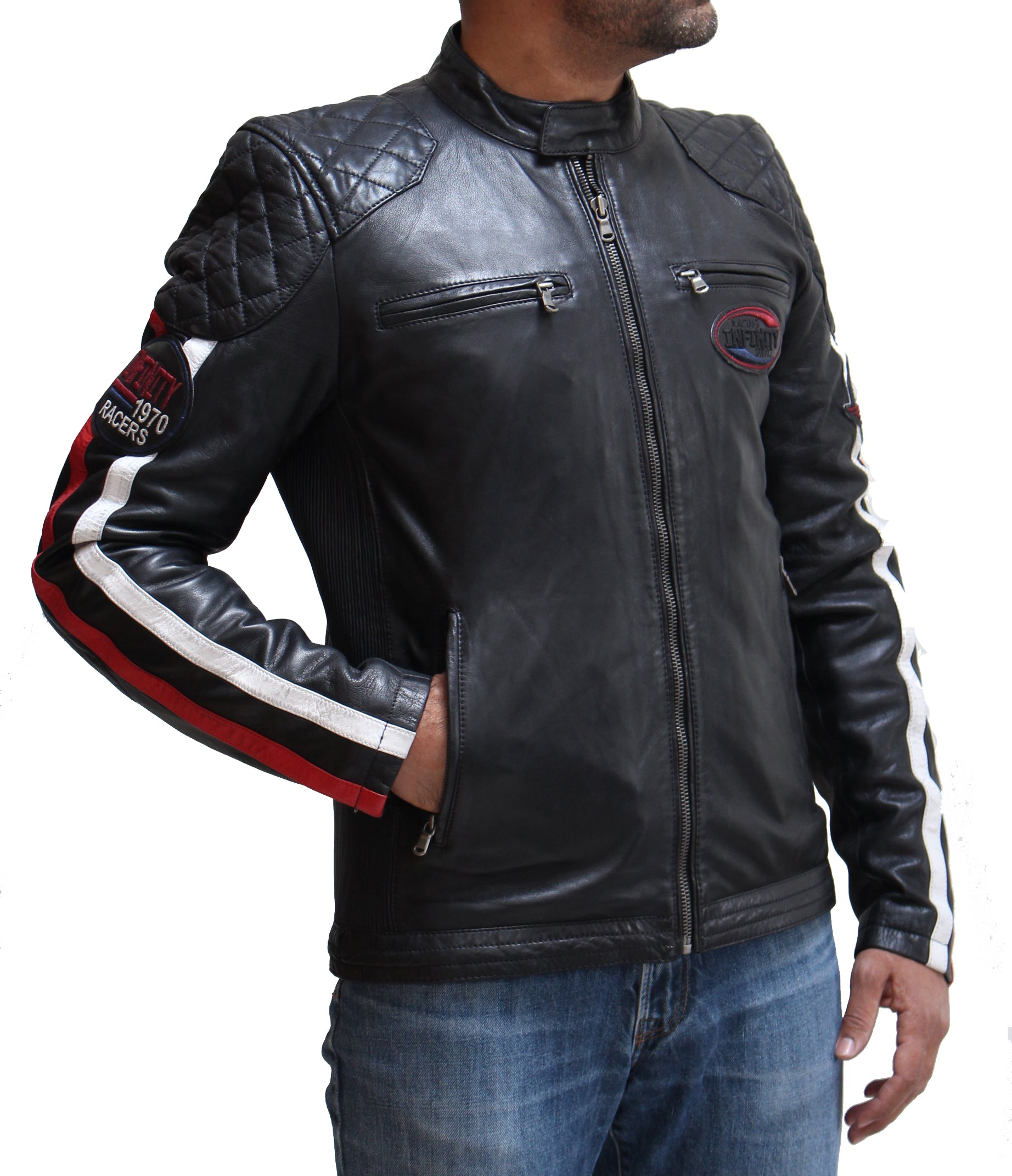 Mens Quilted Racing Leather Jacket with White and red Stripes. Available in Black, Blue and Tan