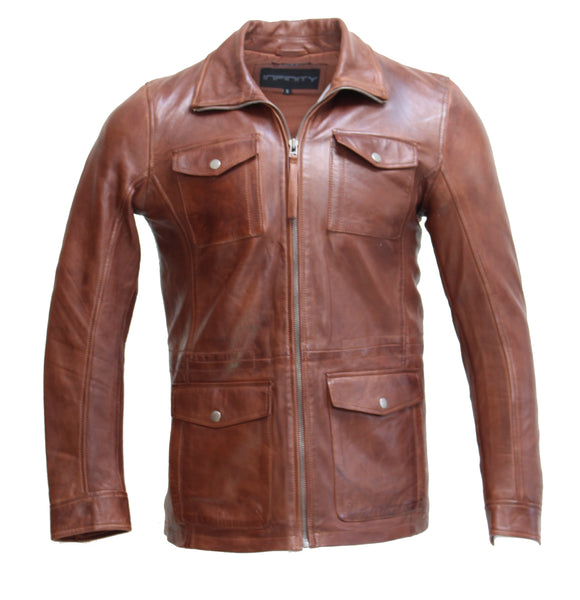 Mens safari / reefer style cognac tan sheep leather coat