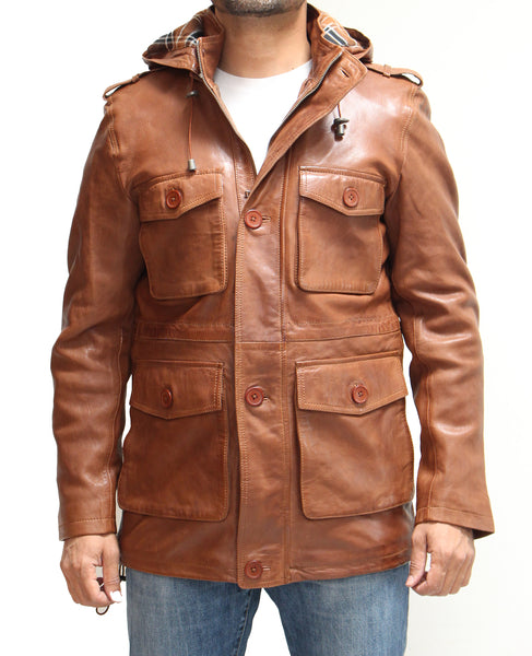 Mens safari style hip length raincoat with detachable hood. Available in Black and Tan