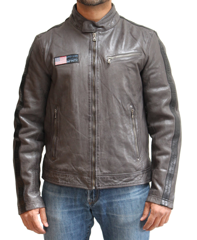Mens Biker Leather Jacket with Black Racing Stripes on Sleeve. Available in Anthracite Grey and Yellow.
