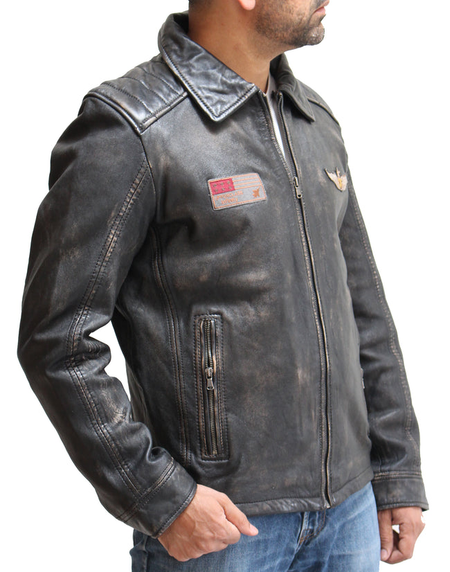 Mens Vintage Black Distressed Leather Badges Bomber Jacket with Removable Sheepskin Ginger Collar
