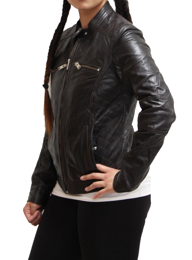 Womens Black lightweight black leather biker jacket with floral lining