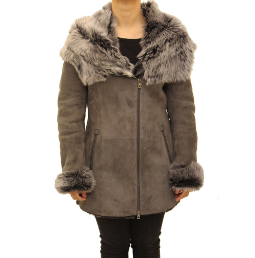 Womens grey hooded toscana coat