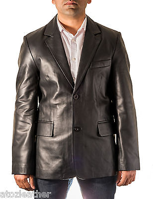 Mens Black Smart Casual Classic Tailored Fit Leather Blazer With two Back Vent