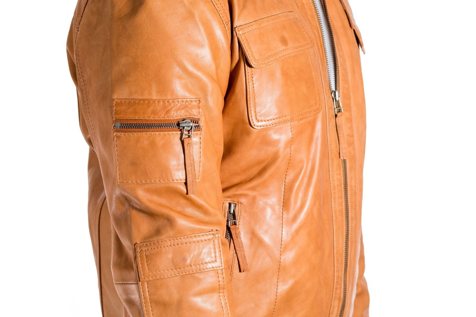 Mens Tan Smart Biker Leather Jacket with Shirt Collar and Multiple Pockets