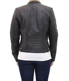 Womens Black Real Leather Smart Short Zipped Black Collarless Biker Jacket