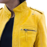 Womens Yellow Real Soft Leather Biker Jacket with Mandarin Style Soft Collar