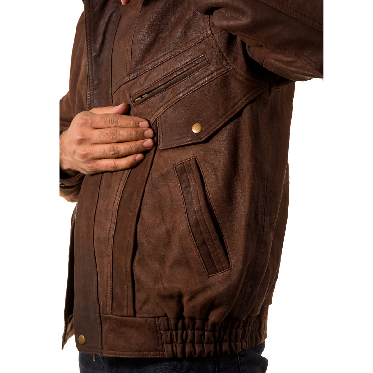 Mens Italian style retro bomber blouson leather jacket in Black, Tan and Brown