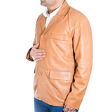 Mens soft Nappa sheep leather three button classic smart tailored blazer jacket