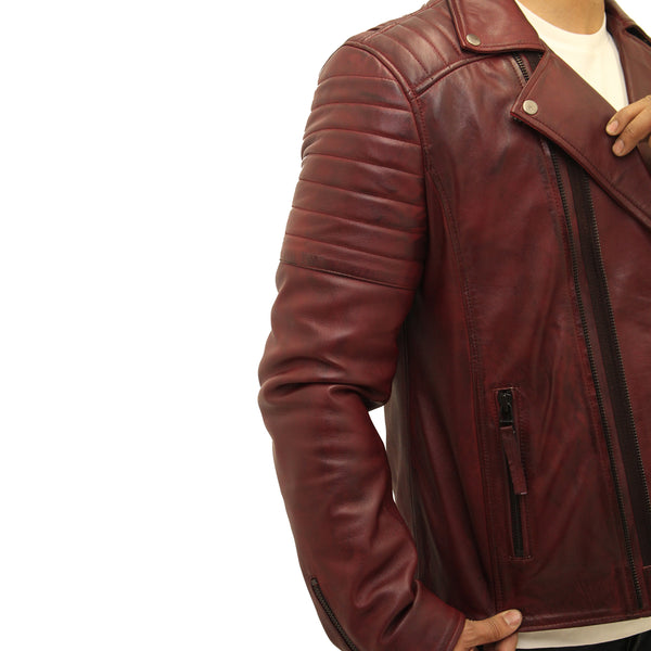 Mens Brando style double zipper leather quilted motorbike jacket