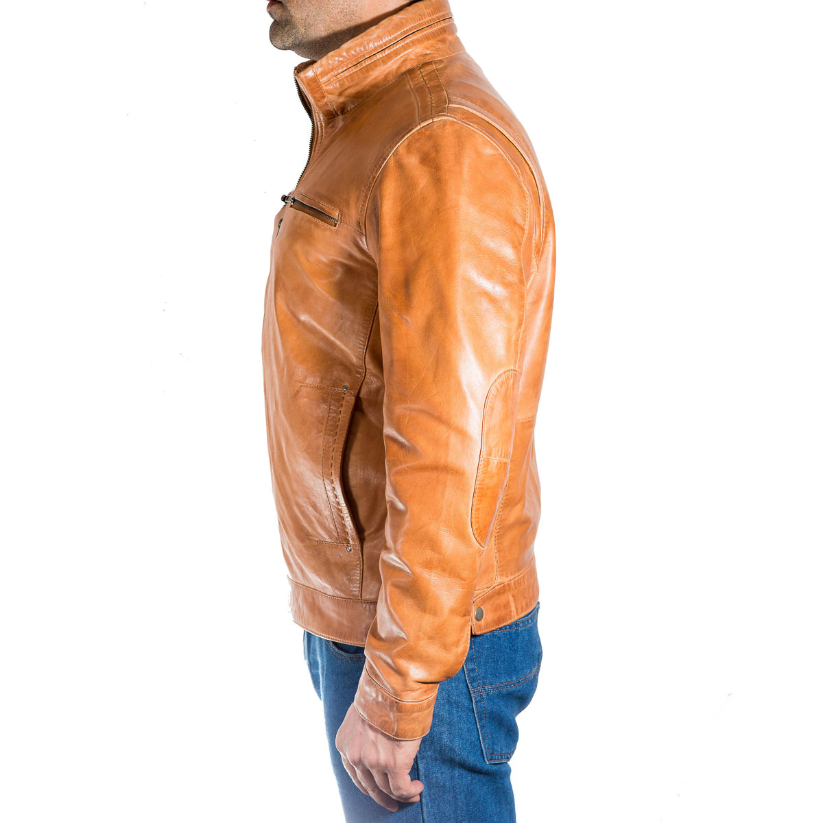 Mens waxed lab leather smart casual retro vintage biker jacket.