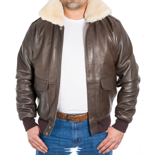 Mens classic A2 Pilot flying sheepskin collar bomber jacket. Available in Black and Brown