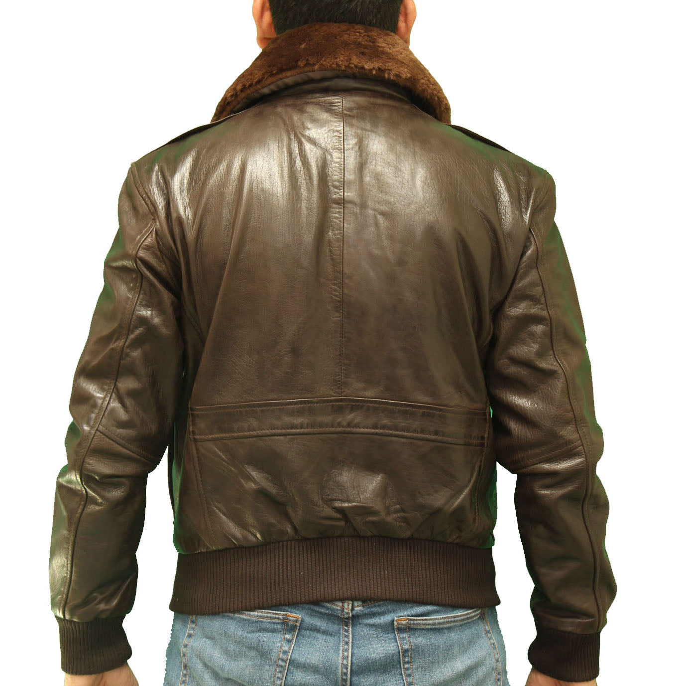Mens classic Dark Brown A2 Bomber jacket with removable sheepskin collar
