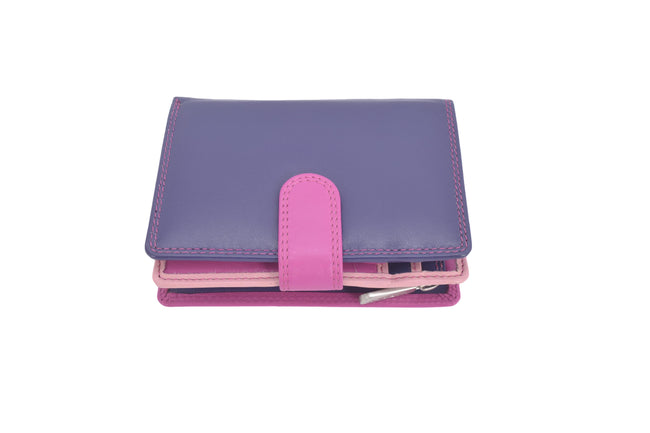 Coral range of dual coloured compact RFID protection real leather purses wallets (medium)