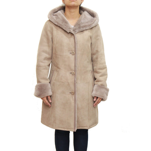 Womens taupe luxurious sheepskin three quarter hooded coat