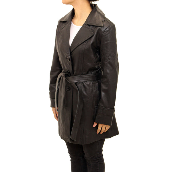 Womens real leather classic trench coat with belt tie and back vent.