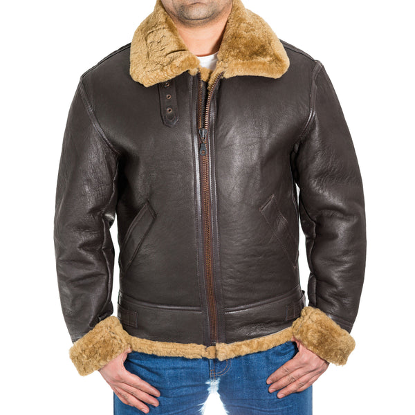 Mens pilot / aviator B3 Dark Brown leather winter warm flying jacket. Available with Cream or Ginger Sheepskin