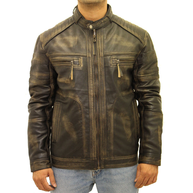 Mens Black Vintage Distressed Leather Quilted Smart Fitted Retro Zipped Racing Biker Jacket
