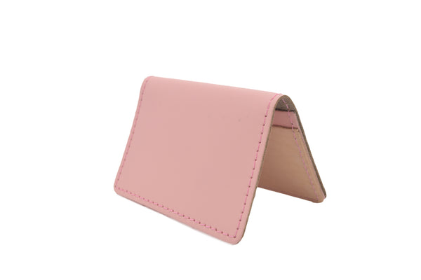 Baby Pink Unisex Handmade Oyster Travel Card Holder Wallet ID in Leather, Cowhide, Nubuck and Suede