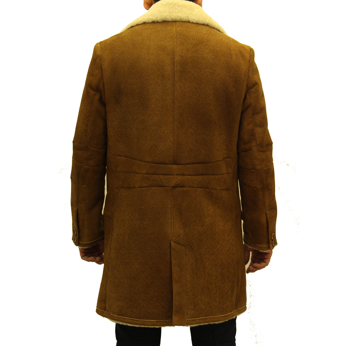 Mens luxurious tan with cream sheepskin single breasted winter trench coat