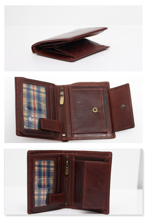 Men's Tri-Fold Brown 100% Leather Slim Pocket Size Wallet with card Holder Forum 7037