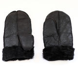 Unisex Black with Black Fur Luxury Soft and Thick Sheepskin Mittens