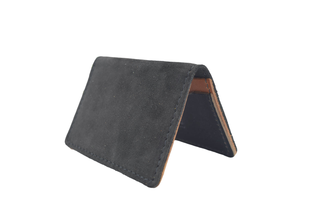 Black Suede Unisex Handmade Oyster Travel Card Holder Wallet ID in Leather, Cowhide, Nubuck and Suede
