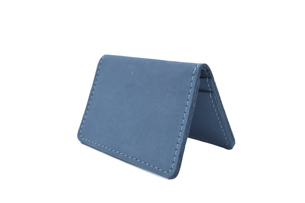 Just Blue Nubuck Unisex Handmade Oyster Travel Card Holder Wallet ID in Leather, Cowhide, Nubuck and Suede
