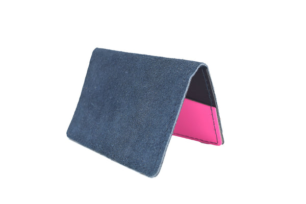 Blue Suede Unisex Handmade Oyster Travel Card Holder Wallet ID in Leather, Cowhide, Nubuck and Suede