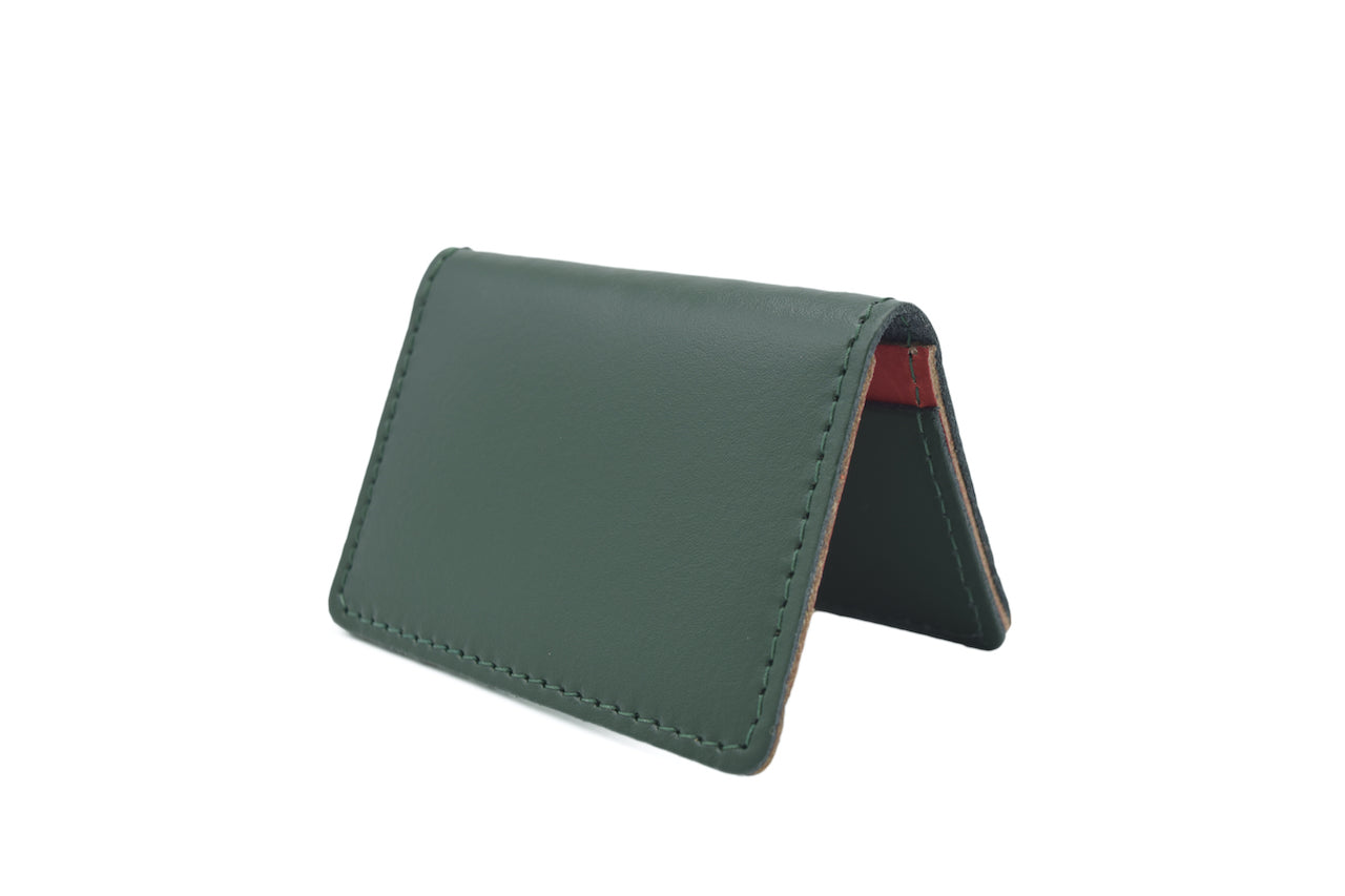 Bottle Green Unisex Handmade Oyster Travel Card Holder Wallet ID in Leather, Cowhide, Nubuck and Suede