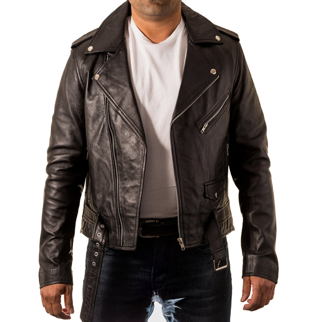 Mens classic Brando biker style fitted jacket with waist belt. Available in waxed leather or suede finishing