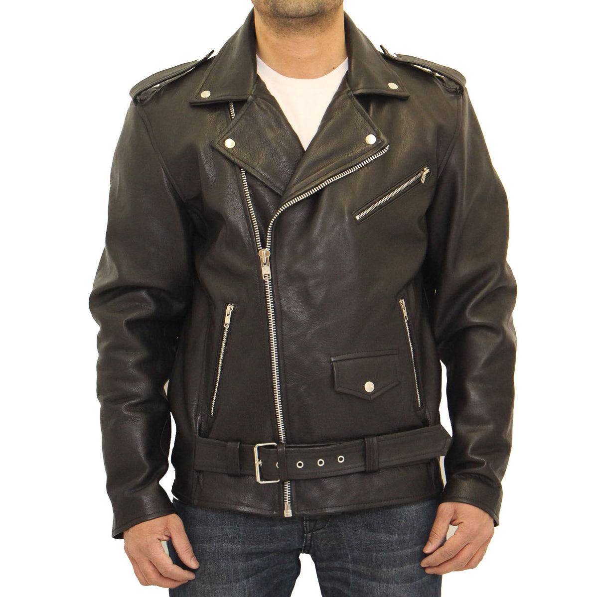 2ac35f02a7b6 Mens real Brando cowhide leather motorbike fitted biker jacket. – A ...