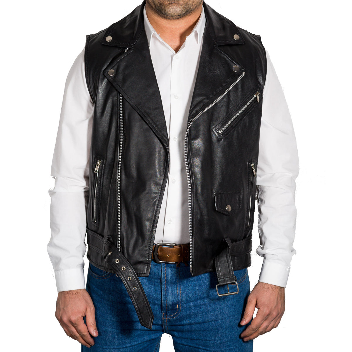 Mens classic Brando biker style real leather fitted jacket with waist belt