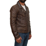 Mens classic Brando style quilted biker jacket available in Black or White
