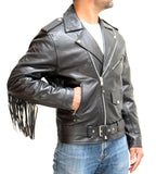 Mens Real Black Cowhide Leather Fringe Brando Biker Style Classic Jacket