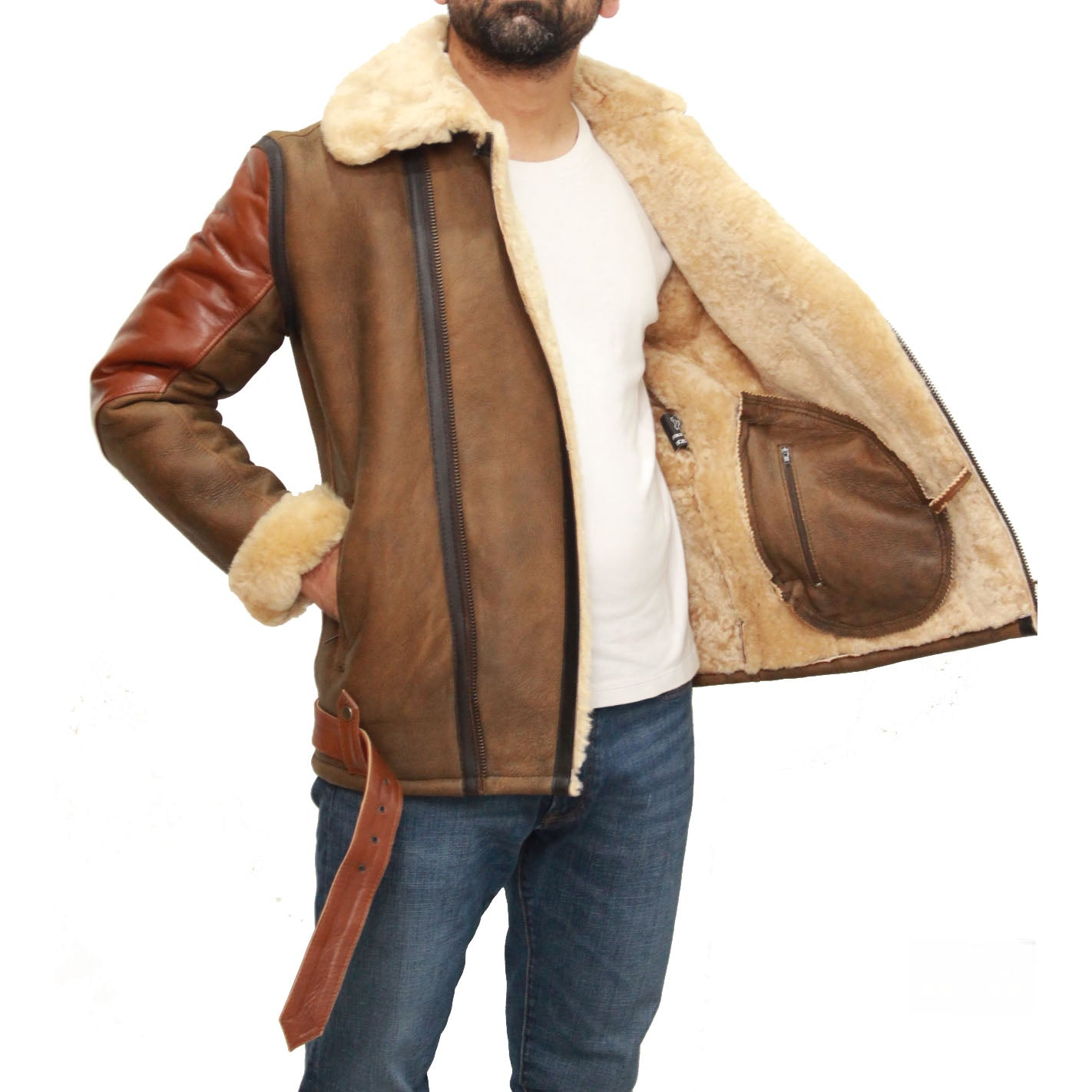 Mens tri-brown colour and cream sheepskin bomber jacket