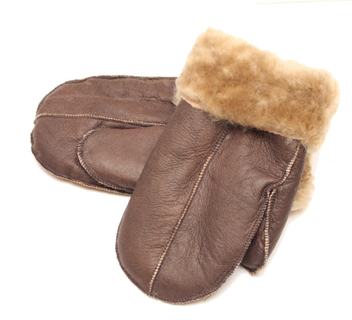 Unisex Brown with Ginger Fur Luxury Soft and Thick Sheepskin Mittens