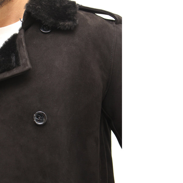 Mens luxurious shearling sheepskin winter double breasted coat with removable belt