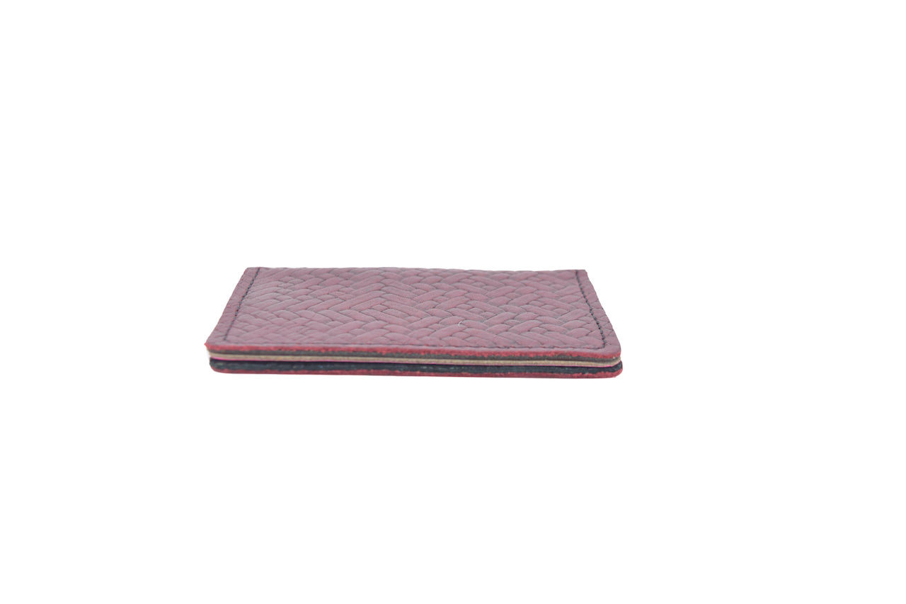 Burgundy Weave Unisex Handmade Oyster Travel Card Holder Wallet ID in Leather, Cowhide, Nubuck and Suede