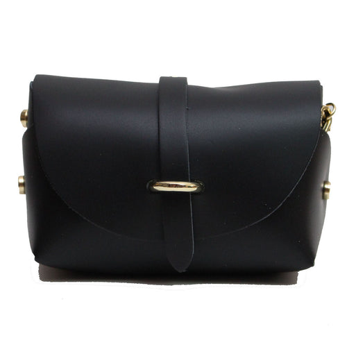 Black evening clutch leather bag with detachable gold chain strap